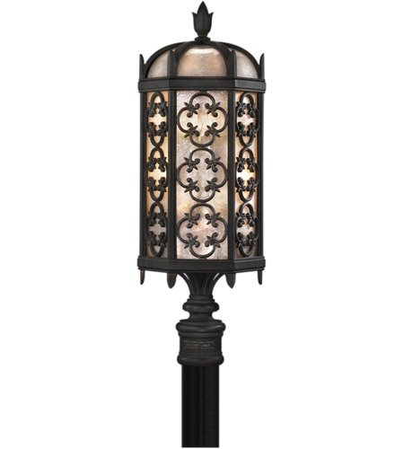Fine Art Lamps Costa del Sol 3 Light Outdoor Post Mount in Marbella Wrought Iron 541480ST photo
