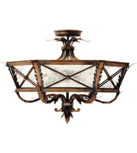 Fine Art Lamps Newport 3 Light Semi-Flush Mount in Rustic Burnished Gold w/ Silver Highlights 562240ST photo