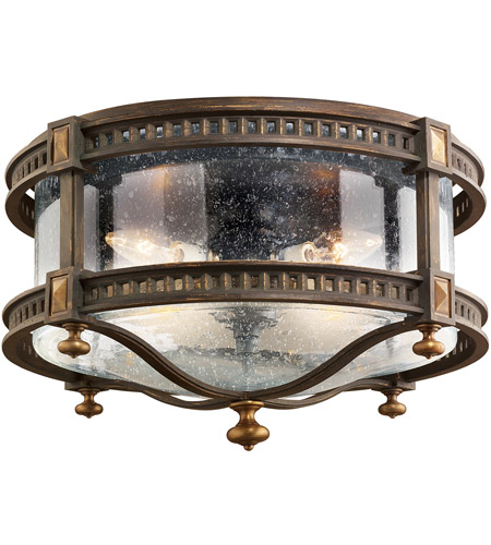Fine Art Lamps Beekman Place 4 Light Outdoor Flush Mount in Weathered Woodland Brown 564982ST photo
