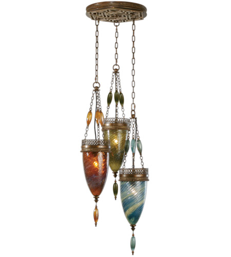 Fine Art Lamps Scheherazade 3 Light Pendant in Aged Dark Bronze 608640-5ST photo
