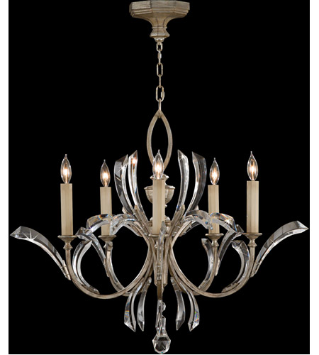 Fine Art Lamps Beveled Arcs 5 Light Chandelier in Warm Muted Silver Leaf 702240ST photo