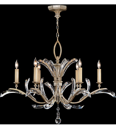 Fine Art Lamps 702440ST Beveled Arcs 6 Light 42 inch Warm Muted Silver Leaf Chandelier Ceiling Light photo