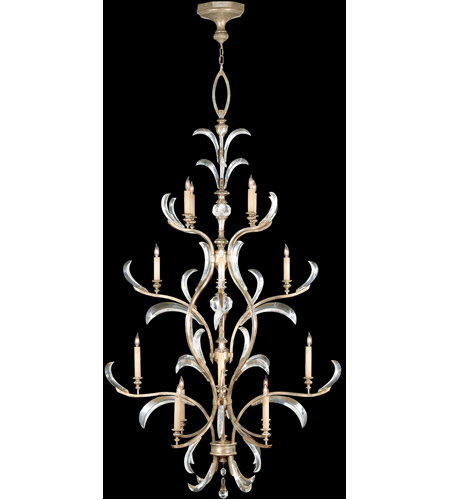 Fine Art Lamps Beveled Arcs 16 Light Chandelier in Warm Muted Silver Leaf 704040ST photo