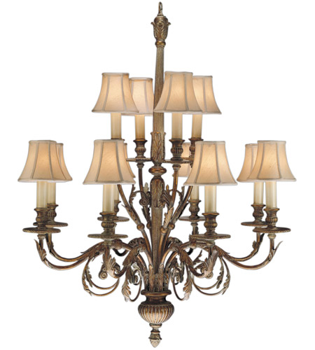 Fine Art Lamps 710340ST Verona 12 Light 36 inch Antique Veronese Gold Chandelier Ceiling Light photo