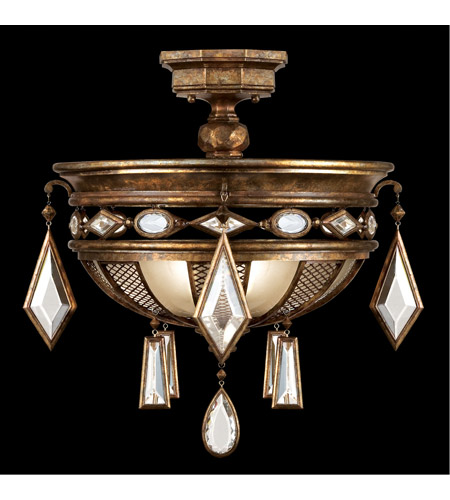 Fine Art Lamps Encased Gems 3 Light Semi-Flush Mount in Venerable Bronze Patina 711440-3ST photo