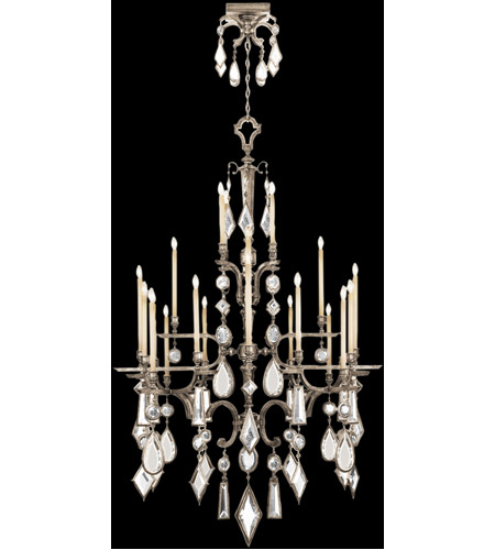 Fine Art Lamps 714040-3ST Encased Gems 24 Light 53 inch Vintage Silver Leaf Chandelier Ceiling Light photo