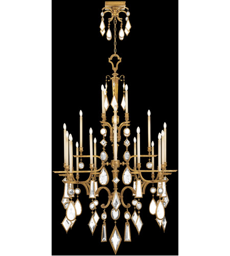 Fine Art Lamps Encased Gems 24 Light Chandelier in Variegated Gold Leaf 714640-3ST photo