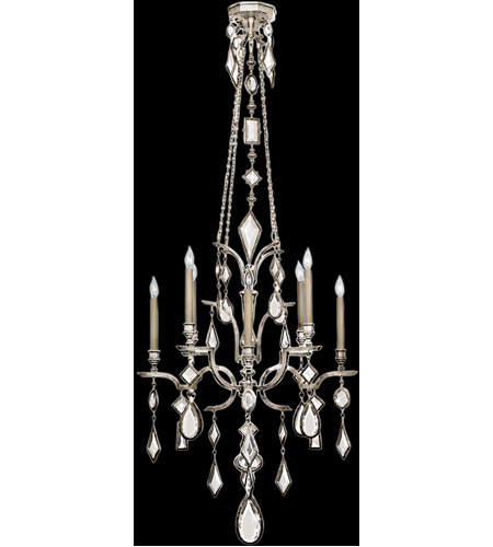 Fine Art Lamps 725440-3ST Encased Gems 8 Light 31 inch Vintage Silver Leaf Chandelier Ceiling Light photo