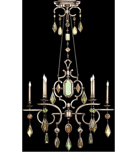 Fine Art Lamps Encased Gems 6 Light Chandelier in Vintage Silver Leaf 725940-1ST photo