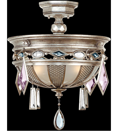 Fine Art Lamps 727140-1ST Encased Gems 3 Light 21 inch Vintage Silver Leaf Semi-Flush Mount Ceiling Light photo