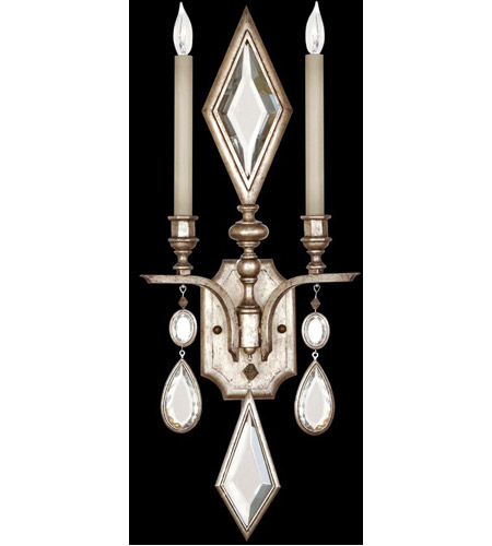Fine Art Lamps 729050-3ST Encased Gems 2 Light 12 inch Vintage Silver Leaf Sconce Wall Light photo
