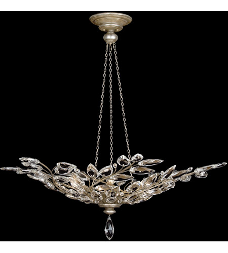 Fine Art Lamps 753740ST Crystal Laurel 6 Light 47 inch Antiqued Warm Silver Leaf Pendant Ceiling Light photo