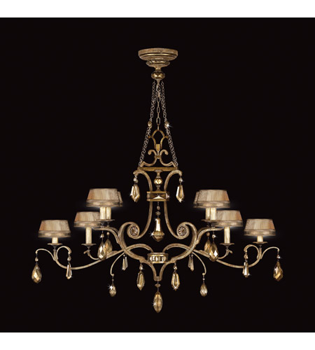Fine Art Lamps 755440ST Golden Aura 8 Light 63 inch Aged Gold Patina Chandelier Ceiling Light photo