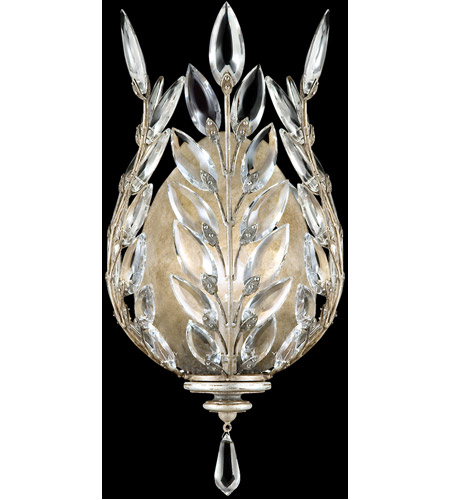 Fine Art Lamps 759550ST Crystal Laurel 1 Light 8 inch Antiqued Warm Silver Leaf Coupe Wall Light photo