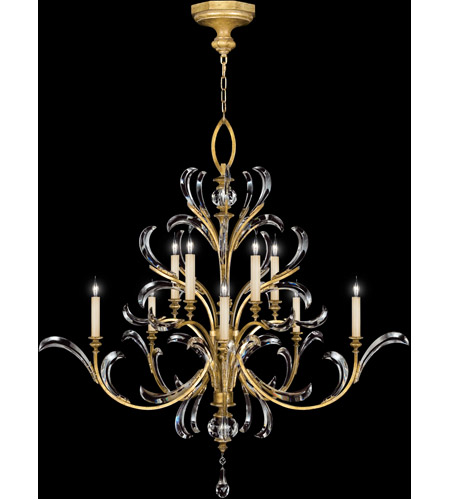 Fine Art Lamps 760640ST Beveled Arcs Gold 10 Light 56 inch Muted Gold Leaf Chandelier Ceiling Light photo
