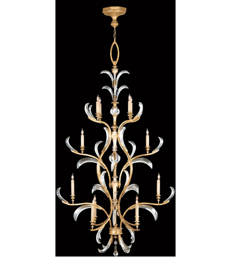 Fine Art Lamps 762940ST Beveled Arcs Gold 16 Light 48 inch Muted Gold Leaf Chandelier Ceiling Light photo