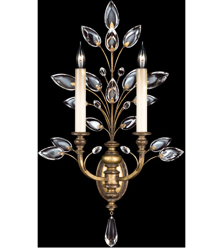 Fine Art Lamps Crystal Laurel 2 Light Sconce in Gold Leaf 773150ST photo