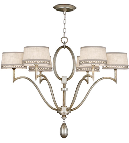 Fine Art Lamps 785840ST Allegretto Silver 6 Light 39 inch Platinized Silver Leaf Chandelier Ceiling Light photo