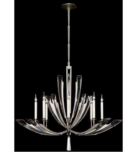 Fine Art Lamps Vol de Cristal 8 Light Chandelier in Platinized Silver Leaf 797340ST photo