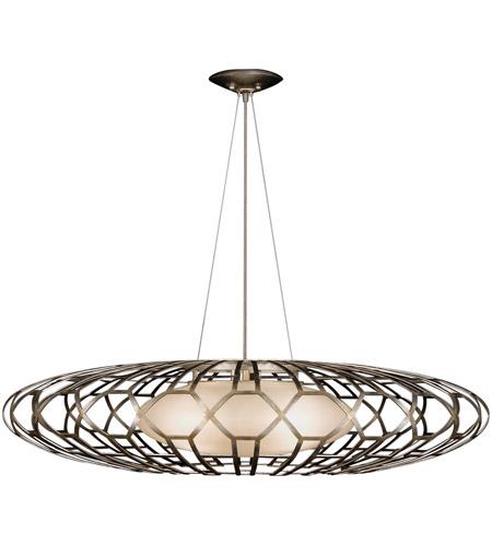 Fine Art Lamps Allegretto 3 Light Pendant in Platinized Silver Leaf 798540ST photo