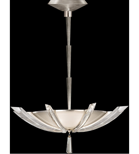 Fine Art Lamps 799040ST Vol de Cristal 3 Light 28 inch Platinized Silver Leaf Pendant Ceiling Light photo