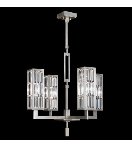 Fine Art Lamps 815340ST Crystal Enchantment 4 Light 28 inch Silver Leaf w/ Crystal Chandelier Ceiling Light photo