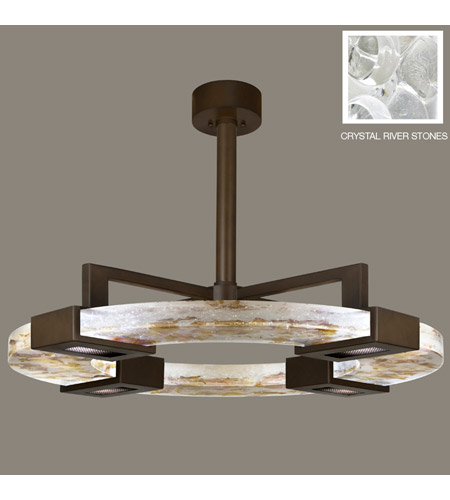 Fine Art Lamps Crystal Bakehouse 4 Light Pendant in Bronze with Polished Block of Crystal River Stones 819140-14ST photo
