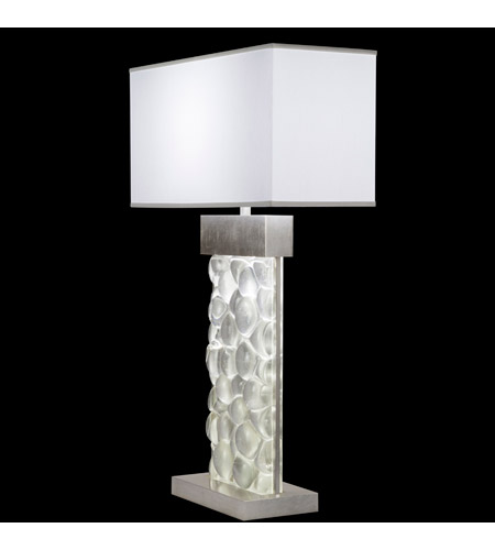 Fine Art Lamps Crystal Bakehouse 2 Light Table Lamp in Silver Leaf with Polished Block of Crystal River Stones 824610-34ST photo