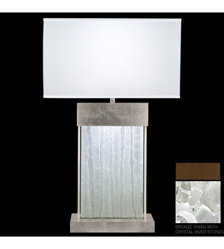 Fine Art Lamps Crystal Bakehouse 2 Light Table Lamp in Bronze with Polished Block of Crystal River Stones 824810-14ST photo