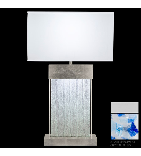 Fine Art Lamps Crystal Bakehouse 2 Light Table Lamp in Silver with Polished Block of Cobalt & Aqua Crystal Shards 824810-22ST photo