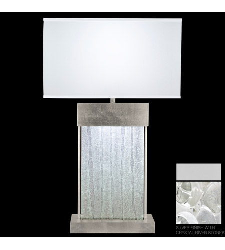 Fine Art Lamps Crystal Bakehouse 2 Light Table Lamp in Silver with Polished Block of Crystal River Stones 824810-24ST photo
