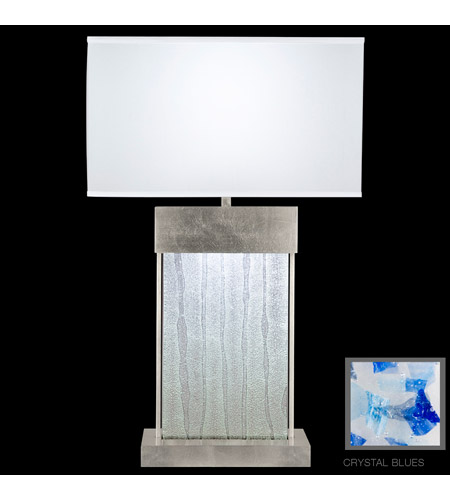 Fine Art Lamps Crystal Bakehouse 2 Light Table Lamp in Silver Leaf with Polished Block of Cobalt & Aqua Crystal Shards 824810-32ST photo