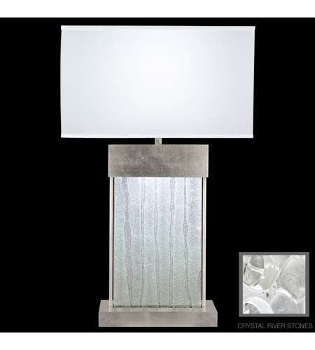 Fine Art Lamps Crystal Bakehouse 2 Light Table Lamp in Silver Leaf with Polished Block of Crystal River Stones 824810-34ST photo