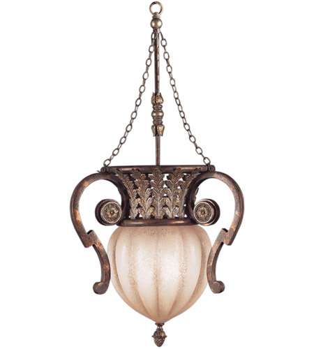 Fine Art Lamps 836542ST Stile Bellagio 2 Light 18 inch Tortoise Leather Crackle Pendant Ceiling Light photo