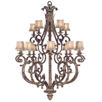 Fine Art Lamps 141940ST Stile Bellagio 15 Light 45 inch Tortoise Leather Crackle Chandelier Ceiling Light