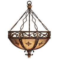 Castile 3 Light 28 inch Antiqued Iron and Gold Leaf Pendant Ceiling Light