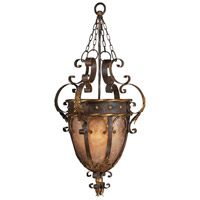 Castile 3 Light 22 inch Antiqued Iron and Warm Gold Leaf Pendant Ceiling Light