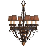 Castile 6 Light 29 inch Iron and Gold Leaf Chandelier Ceiling Light