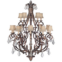 Stile Bellagio 15 Light 45 inch Tortoise Leather Crackle Chandelier Ceiling Light