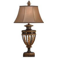 Castile 38 inch 150 watt Antiqued Iron and Gold Leaf Table Lamp Portable Light