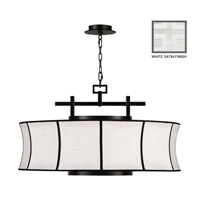 Fine Art Lamps Black and White Story 3 Light Pendant in Studio White Satin Lacquer 233540-5ST