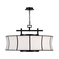 Fine Art Lamps Black and White Story 3 Light Pendant in Black Satin Lacquer 233540-6ST