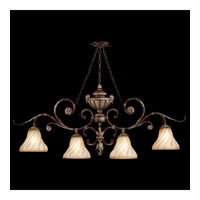 Fine Art Lamps Stile Bellagio 4 Light Island Fixture in Tortoise Leather Crackle 302240ST photo thumbnail