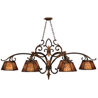 Villa 1919 6 Light 60 inch Rich Umber w/ Guilded Accents Island Fixture Ceiling Light