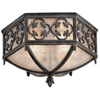 Costa del Sol 2 Light 16 inch Wrought Iron Outdoor Flush Mount