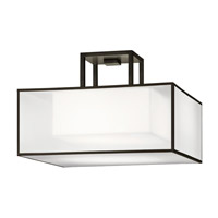 Fine Art Lamps Black + White Story 2 Light Semi-Flush Mount in Black Satin Lacquer 330740-6ST