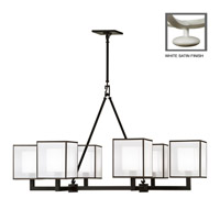 Fine Art Lamps Black and White Story 6 Light Chandelier in Studio White Satin Lacquer 331440-5ST