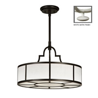Fine Art Lamps Black + White Story 3 Light Pendant in Studio White Satin Lacquer 438540-5ST