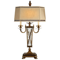 Fine Art Lamps Newport 2 Light Table Lamp in Rustic Burnished Gold w/ Silver Highlights 549410ST
