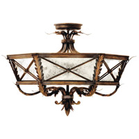 Newport 3 Light 25 inch Rustic Burnished Gold w/ Silver Highlights Semi-Flush Mount Ceiling Light
